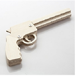 [MYPA] DIY Wooden Rubber Band Shooting Gun 5-Shot Wood Toy Gift for Kids and Adults MYPA GUN - PMA10