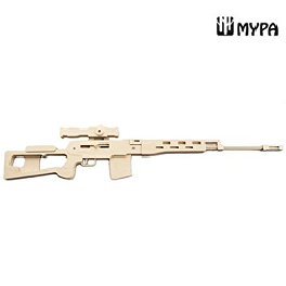 [MYPA] DIY Wooden Rubber Band Shooting Gun 8-Shot Wood Toy Gift for Kids and Adults MYPA GUN -SRDR14