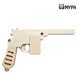 [MYPA] DIY Wooden Rubber Band Shooting Gun 10-Shot Wood Toy Gift for Kids and Adults MYPA GUN - PMA2