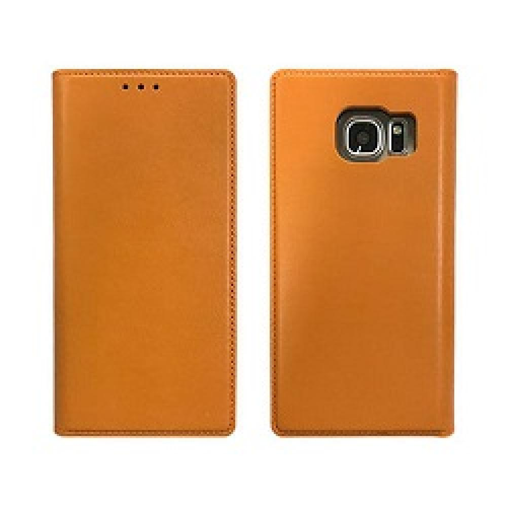 Genuine Cow Leather Tech, Stand Folio Case For Galaxy S7 - Elegance Camel Orange