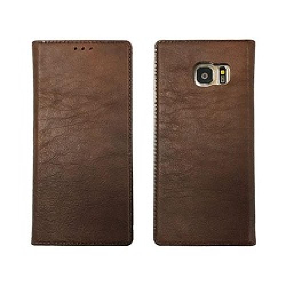 Genuine Cow Leather Tech, Stand Folio Case For Galaxy S7 Edge - Toccata Brown