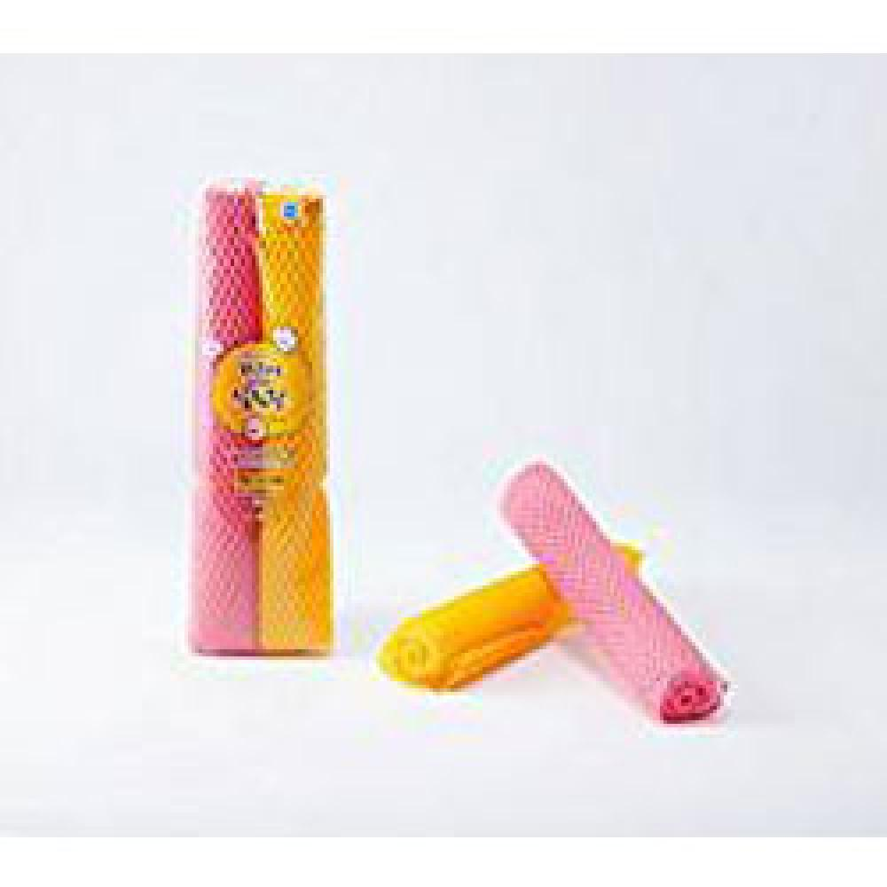 Netting Thread Scrubber, Polypropylene, Scratch-free, Pink and Yellow, Pack Size : 10 pcs Poly-Bag