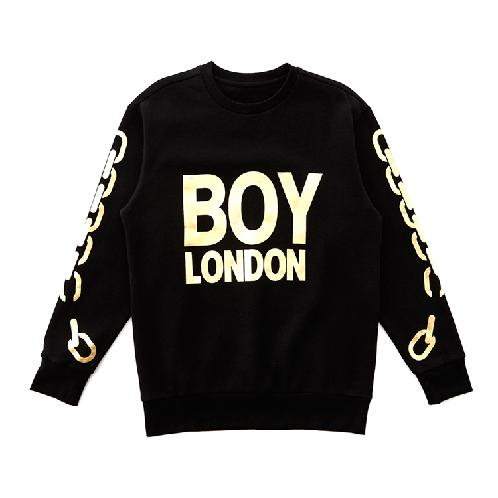 BOY LONDON Gold or Silver Chain Printed on Sleeves Sweatshirt BLACK | BLACK, SILVER, GOLD, BOY LONDON, MEN, WOMEN, SWEATSHIRT, UNISEX, CHAIN DETAIL, OVER SIZE, COTTON