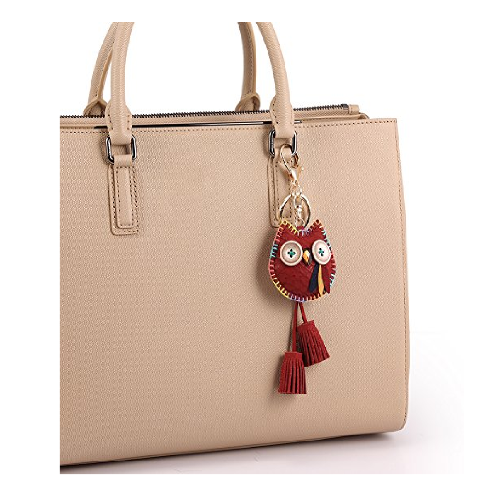 Owl Key Ring Chain, Nikang Handmade Leather Key Holder Metal Chain Charm without Tassels Handbag Acc