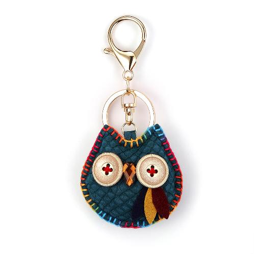 Owl Key Ring Chain, Nikang Handmade Leather Key Holder Metal Chain Charm without Tassels Handbag Acc | best animal small, hand made, leather, home room car key, chain ring, holder, tassel strap, fashion accessory