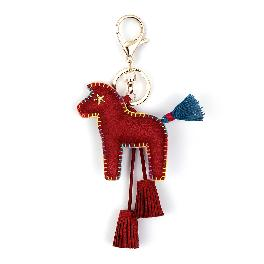 Horse Key Ring Chain, Nikang Handmade Leather Key Holder Metal Chain Charm with Tassels, Tassel key