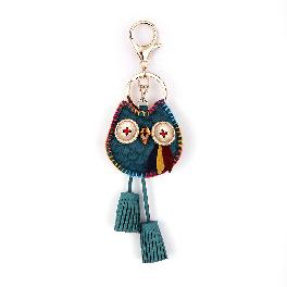 Owl Key Ring Chain, Nikang Handmade Leather Key Holder Metal Chain Charm with Tassels, Tassel key ch