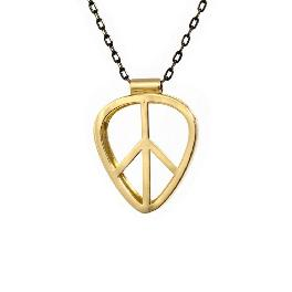[PICKRING] Guitar Pick Holder Pendant Necklace Standard Size (Peace/Gold)