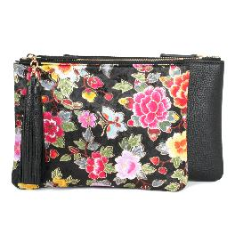 Peony flower pattern silk and leather combination clutch bag