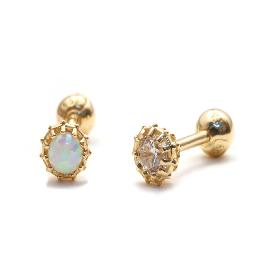 14k gold body jewelry opal cz earrings piercing body jewelry
