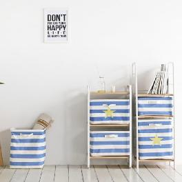 High quality fabric Stripe foldable canvas storage box for storage