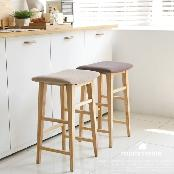 Wood Pub-Height Kitchen Bar Stool Fabric