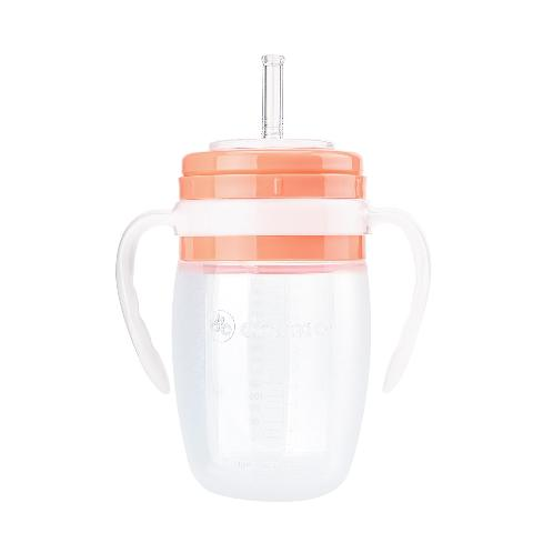 Straw Water Bottle 320ml(Pink) | DRAMA,	silicone bottle,	straw bottle