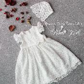 New Fashion Latest Design Cute and Lovely Wear Product Pull-Lily Long Dress & Lace Cap