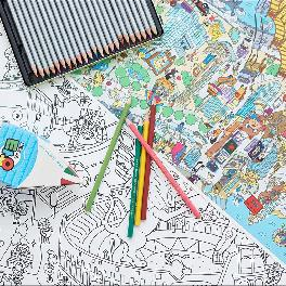 Educational and cultural paper art TAYO coloring world travel augmented reality poster for kids