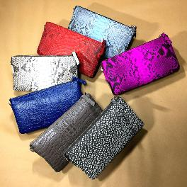 Real snake leather and snake embo leather clutch bag (6 card slot, coin slot, paper money slot)