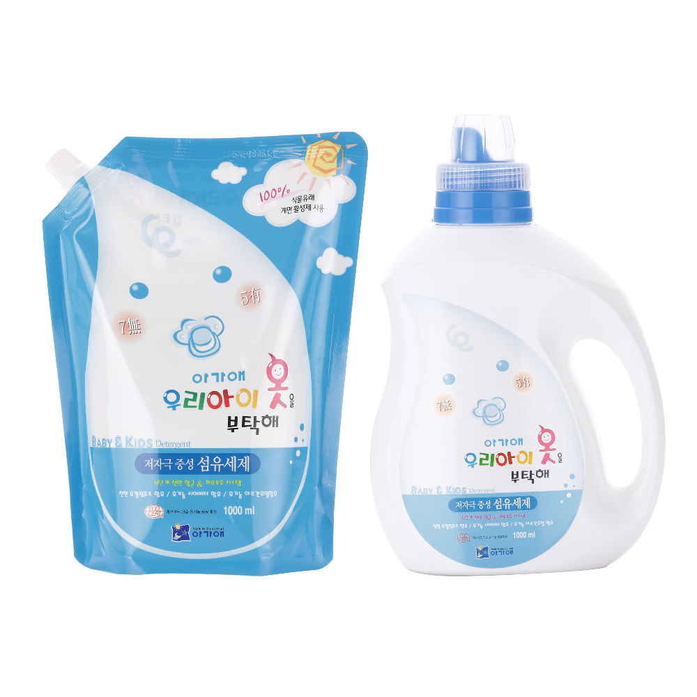 "Korea 100% Plants extract AGA-AE ""TAKE CARE OF MY KID'S CLOTHS"" LAUNDRY DETERGENT(bottle /refill)"