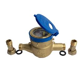 Water meter  for measuring the quantity or rate of water flowing through a pipe (Brass yellow)