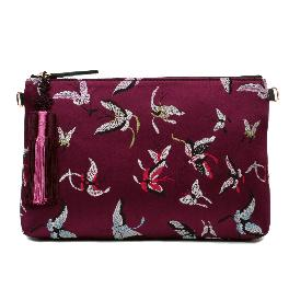 Kesylang butterfly fabric cowhide combined clutch bag with butterfly pattern on the front and back