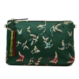 Kesylang butterfly fabric and cowhide combined clutch bag/ green with butterfly pattern on the front