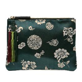 Kesylang womens clutch bag of traditional pattern and norigae combination green with silk fabric