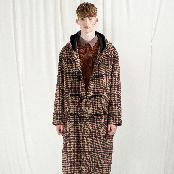K-FASHION CHECK DUFFLE COAT
