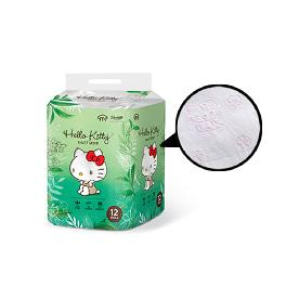 Pink picture print 3-layer convenient and safe HELLO KITTY FOREST GREEN 100% pure natural pulp