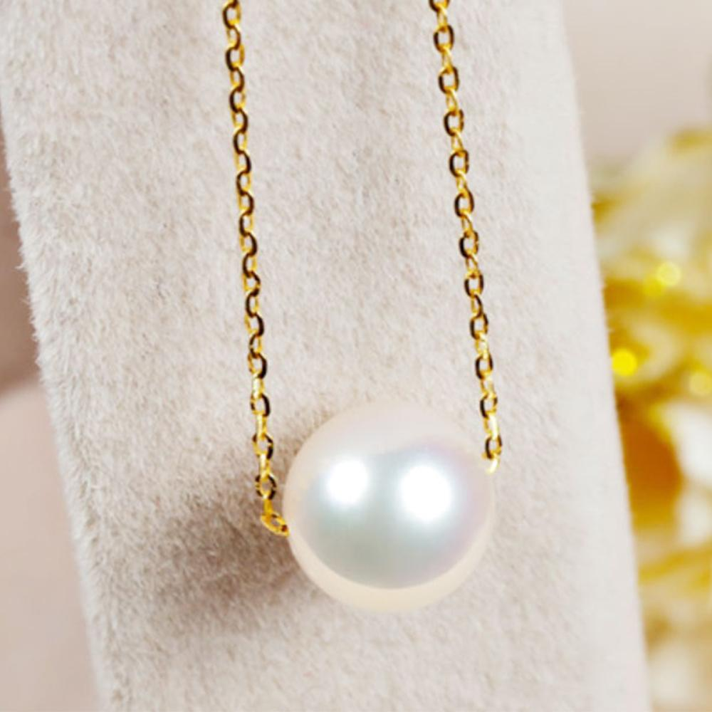 14k gold pearl necklaces with  high gloss  for your happy (Japan akoya pearl 1 pc, 14k gold chain)