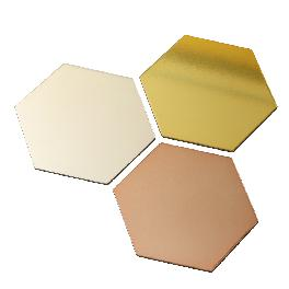 HEXAGONAL METAL INTERIOR TRAY COASTER (Silver, Mirror Gold, Mirror Rose Gold) 120 x 104 mm