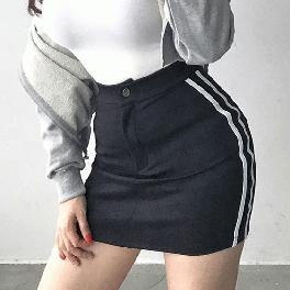 ASFIT's Two-Stripes Banding Miniskirt