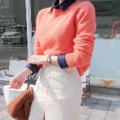 BABIROLEN's Colorful Angora Knitted Sweater