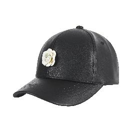 Camellia leather ballcap black/white