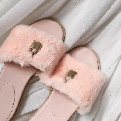 Soft fur daliy slide sandals