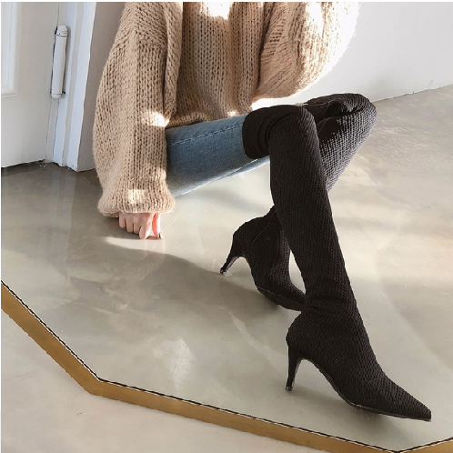 Basic Slim Long Boots | shoes, heel, boots,thigh-high, long