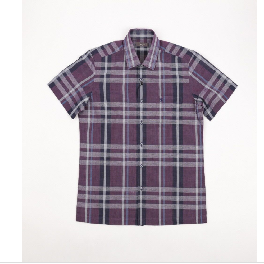Checked Pattern Collar Button Front Short Sleeve Shirt Violet