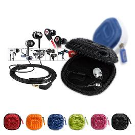Earphone Headphone Pouch 5colors - Blue White