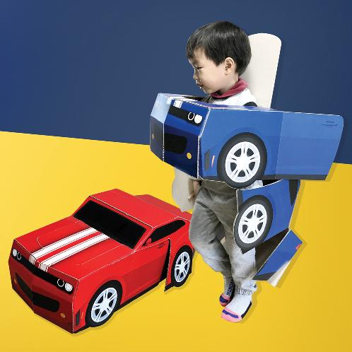 MAP Transformation Car TTibot Kit (Red / Blue) | child toy,car toy,toy kit, baby, children,diy toy,plaything,paper toy