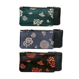Clutch bag of Traditional pattern and leather combination (S)