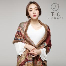 ETHNIC AND PAISLEY STYLE MANUALLY STITCHED SHAWL WITH MINK TRIMMING