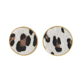 [ANNACRI]  Leopardy Round Earring Accessories Pierce Jewelry