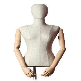 Female Torso Mannequin Stand w/ Wooden Arms & Steel Tripod