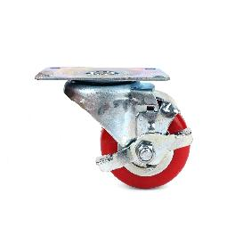 Polyurethane Swivel Plate Caster Wheels (3 inch with Brake)