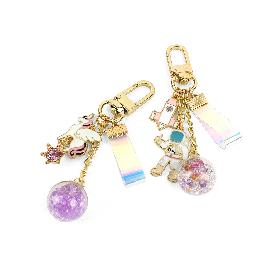 Cute Character Keyring Keychain with hologram strap and beads