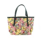 Fashion Flower Pattern Shopper Shoulder Bag - Made of Stereoscopic Carpet Weaving Fabric