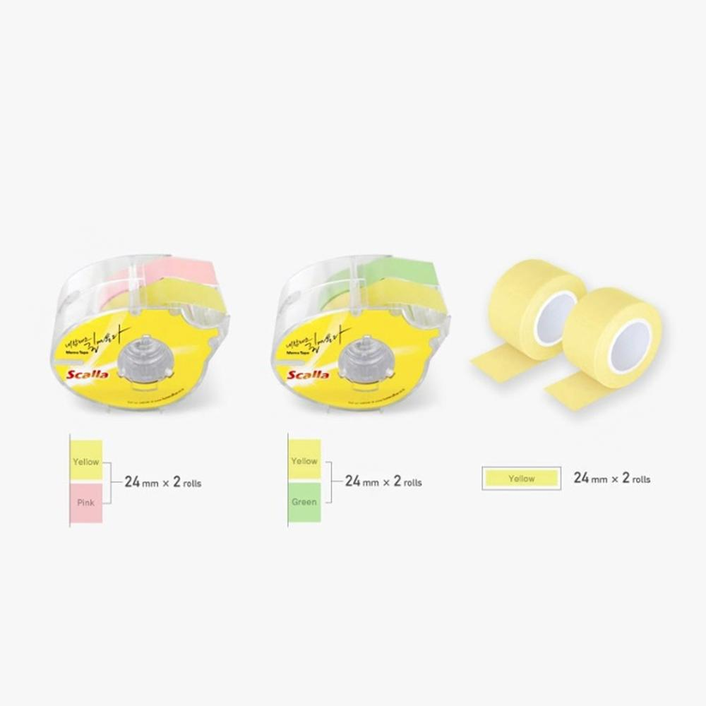 Scalla Memo Tape 24mm Set Sticky Note Adhesion Dispenser 3 Colors Labeling Office Supply Dispenser