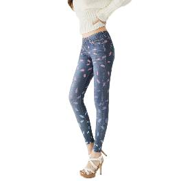 MISM Jeggings for Women Pull-On Denim Printed Skinny Stretch Jean Leggings (1067-rose Surfing)