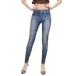 MISM Jeggings for Women Pull-On Denim Printed Skinny Stretch Jean Leggings (1076-pixie)