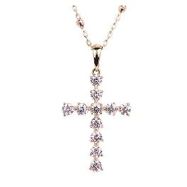 [ALLBRILLE] 14K Gold Cubic Cross Necklace (45cm)