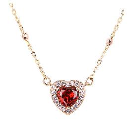 [ALLBRILLE] 14K Gold Romantic Heart Necklace l Garnet