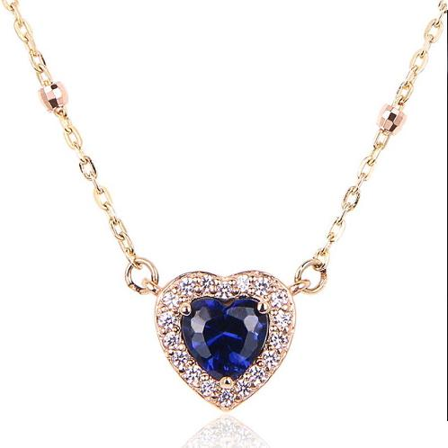 [ALLBRILLE] 14K Gold Romantic Heart Necklace l  Sapphire | gold, jewelry, chain, accessary, present